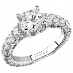 14k White Gold Prong Round Diamond Semi Mount Engagement Ring NK10410-W
