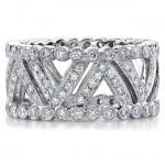 14k White Gold Pave Bezel Diamond Fashion Ring - NK11077-W