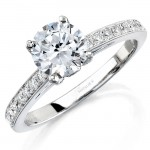 14k White Gold Pave Bezel Diamond Engagement Semi Mount Ring NK12065ENG-W