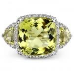 14k White Gold Diamond Three Stone Lemon Quartz Ring NK14824LQ-W