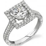 18k White Gold Halo Diamond Engagement Semi Mount Ring NK15630-W