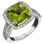14k White Gold Peridot Diamond Halo Split Shank Ring NK16212P-W(C)