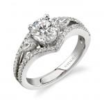 14k White Gold Three Stone Diamond Split Shank Engagement Ring NK16517-W