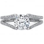14k White Gold Split Shank Pave Diamond Semi Mount Engagement Ring NK17045-W
