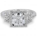 14k White Gold Emerald Cut Three Stone Diamond Engagement Ring NK17105-W