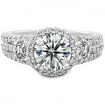 14k White Gold Trapezoid Three Stone Diamond Halo Engagement Ring NK17161-W