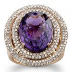 14k Rose Gold Amethyst Golden Diamond Ring - NK17634AM-R