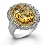 14k White Gold Citrine and Golden Diamond Halo Ring NK17634CT-W