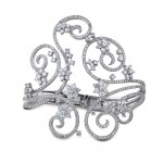 18k White Gold Swirl Pave Prong Ladies Diamond Bangle NK18053W