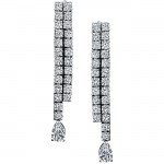 14k White Gold Round and Pear Shaped Diamond Earrings - NK18090-W