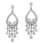 18k White Gold Marquise Pear Shaped Diamond Earrings - NK18217-W