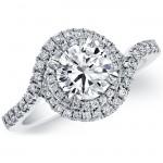 18k White Gold Halo Swirl Diamond Semi Mount Engagement Ring NK18586-W