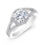 18k White Gold Split Shank Halo Diamond Engagement Ring