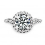18k White Gold Classic Diamond Halo Engagement Ring NK19623-W