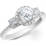 14k White Gold Three Stone Princess Cut Halo Diamond Engagement Semi Mount Ring NK20512ENG-W