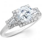 14k White Gold Three Stone Baguette Diamond Halo Engagement Semi Mount NK20515ENG-W