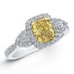18k White and Yellow Gold Fancy Yellow Cushion Diamond Engagement Ring