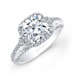 18k White Gold Micro Pave Princess Cut Halo Diamond Engagement Ring with Side Stones