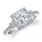 14k White Gold Three Stone Diamond Halo Engagement Ring - NK22925-W