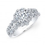 18k White Gold Double Row Shank Diamond Engagement Ring