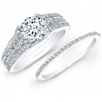 18k White Gold Pave Prong Three Row Shank White Diamond Bridal Set