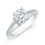 14k White Gold Prong and Bezel Round Diamond Engagement Ring