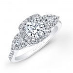14k White Gold Halo Diamond Engagement Ring with Pear Shaped Side Stones NK25804-W