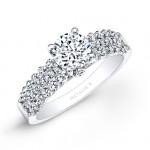 14k White Gold Prong and Bezel Set Three Row White Diamond Engagement Ring