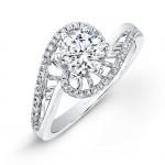 18k White Gold Swirl Pave Diamond Engagement Ring