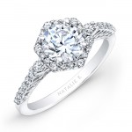 18k White Gold Prong Halo White Diamond Engagement Ring