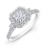18k White Gold Round Diamond Square Halo Diamond Engagement Ring