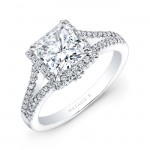 18k White Gold Split Shank Princess Cut Halo Diamond Engagement Ring NK28085-18W