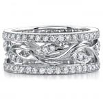 14k White Gold Fashion Diamond Leaf Band NK8445-W