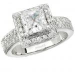 18k White Gold Halo Pave Diamond Semi Mount Engagement Ring NK9166ENG-W