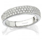 18k White Gold Halo Pave Diamond Wedding Band NK9166WED-W