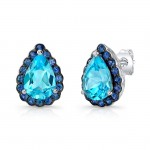 Sterling Silver Pear Cut Blue Topaz and Sapphire Halo Stud Earrings