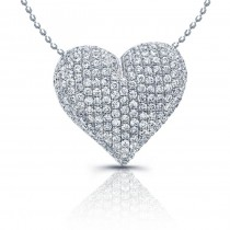14k White Gold Puffy Diamond Pave Heart Pendant