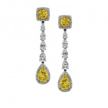 18k White and Yellow Gold Fancy Yellow Pear Cushion Diamond Earrings - NK18119FY-WY