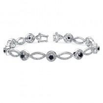 14K White Gold Prong Black and White Diamond Bracelet