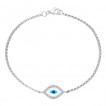 14k White Gold Diamond Evil Eye Bracelet