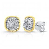 14k White Gold Diamond Square Stud Earrings