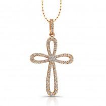 14k Rose Gold Cluster Center Diamond Cross Pendant