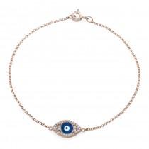 14k Rose Gold Diamond Encrusted Dark Blue Enamel Evil Eye Bracelet