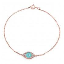 14k RoseGold Diamond Encrusted Light Blue Enamel Evil Eye Bracelet