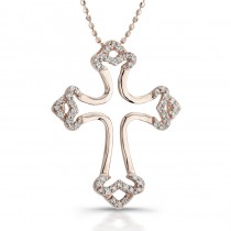 14k Rose Gold Diamond Micro Prong Cross Pendant