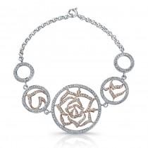14k White and Rose Gold Diamond Circle Flower Bracelet