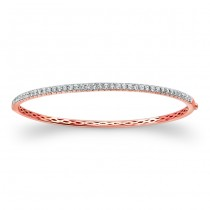14k Rose Gold White Diamond Bangle Bracelet