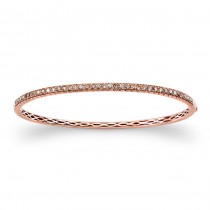 14k Rose Gold Mixed Brown Diamond Bangle Bracelet