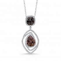 14k White Gold Rose-Cut Brown Diamond and White Diamond Swirl Pendant