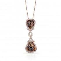 14k Rose Gold Rose-Cut Brown and White Diamond Pendant